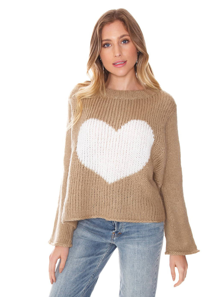 Women wearing a sweater rental from Wooden Ships called Big Heart Sweater