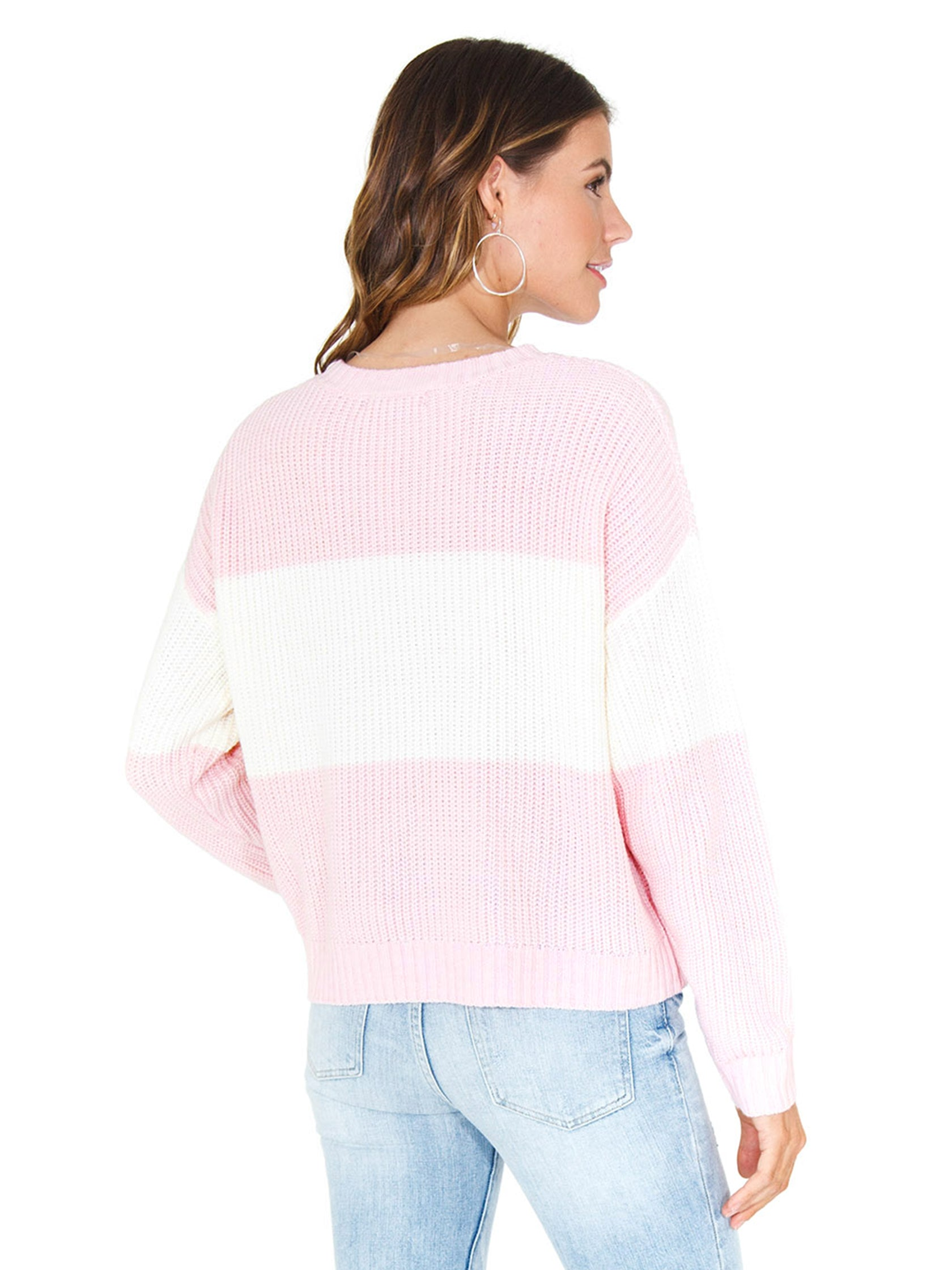 Women outfit in a sweater rental from SANCTUARY called Billie Colorblock Shaker Sweater