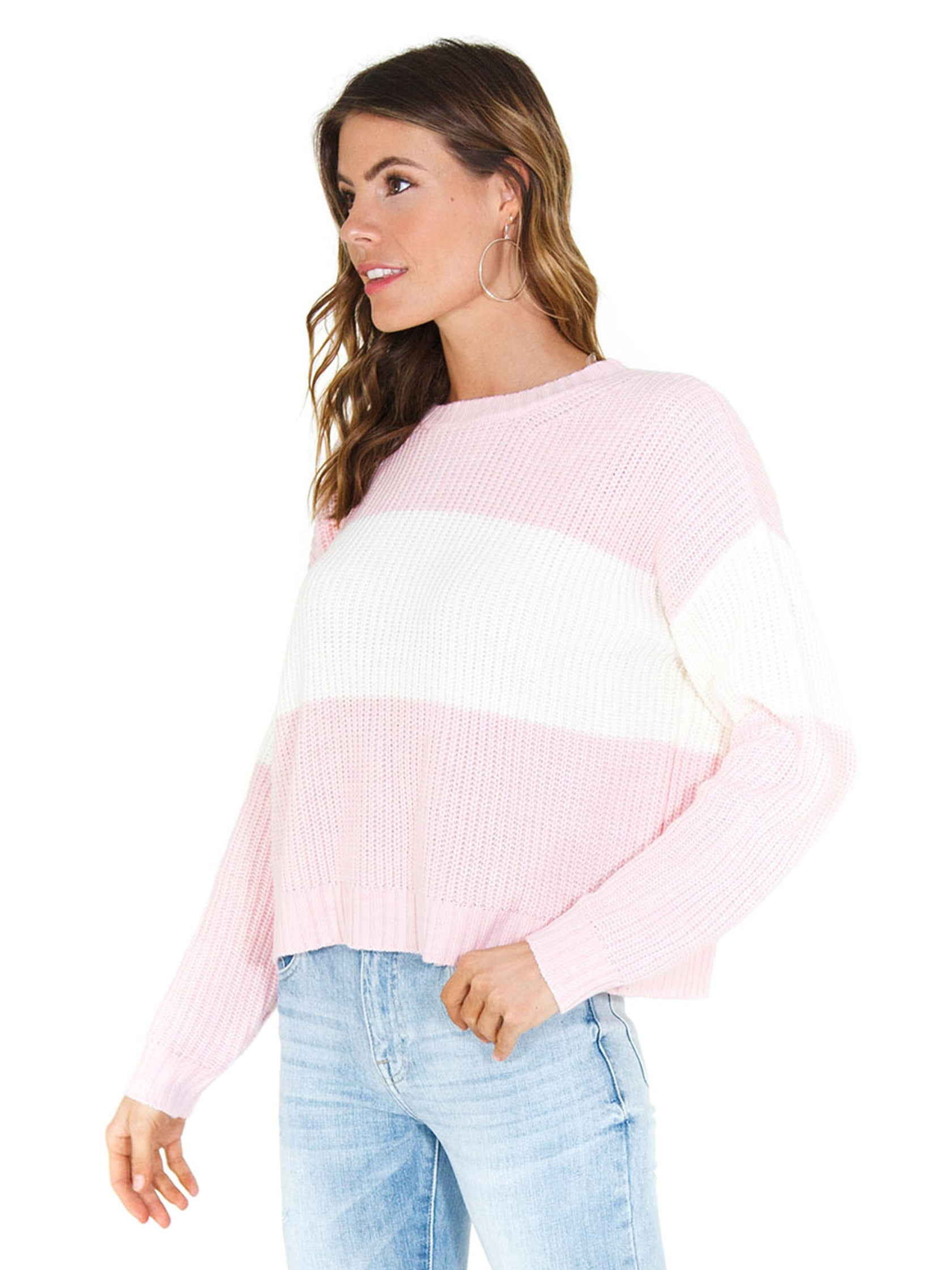 Women wearing a sweater rental from SANCTUARY called Billie Colorblock Shaker Sweater