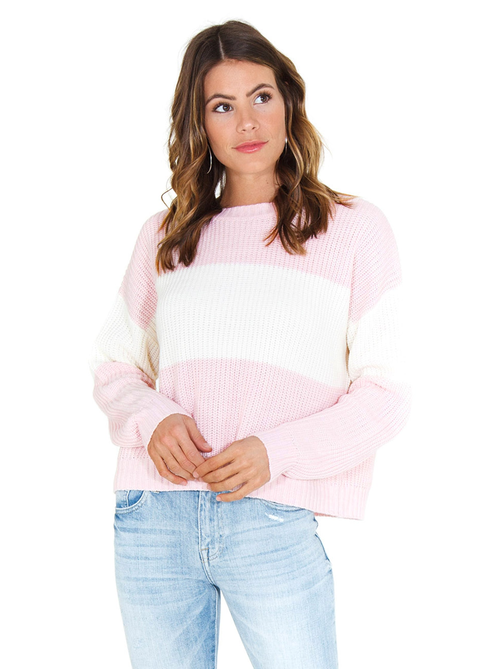 Woman wearing a sweater rental from SANCTUARY called Billie Colorblock Shaker Sweater