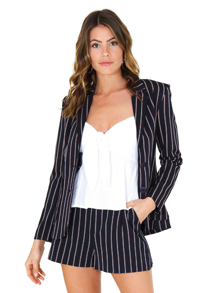 Women wearing a blazer rental from BB Dakota called Blaze It Striped Blazer