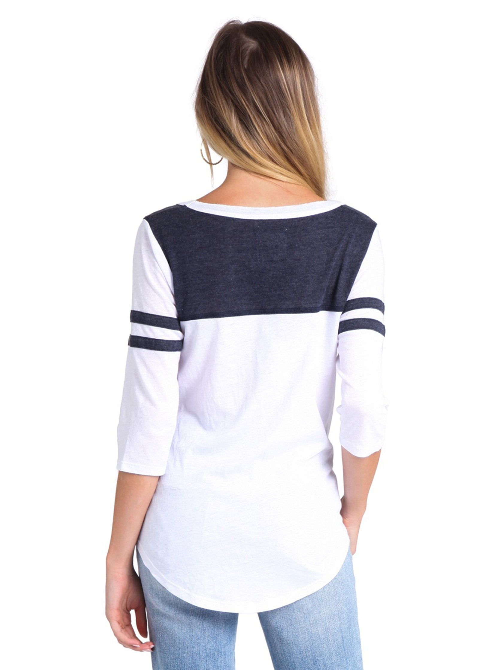 Women outfit in a top rental from Chaser called Blocked Jersey Yoke Tee