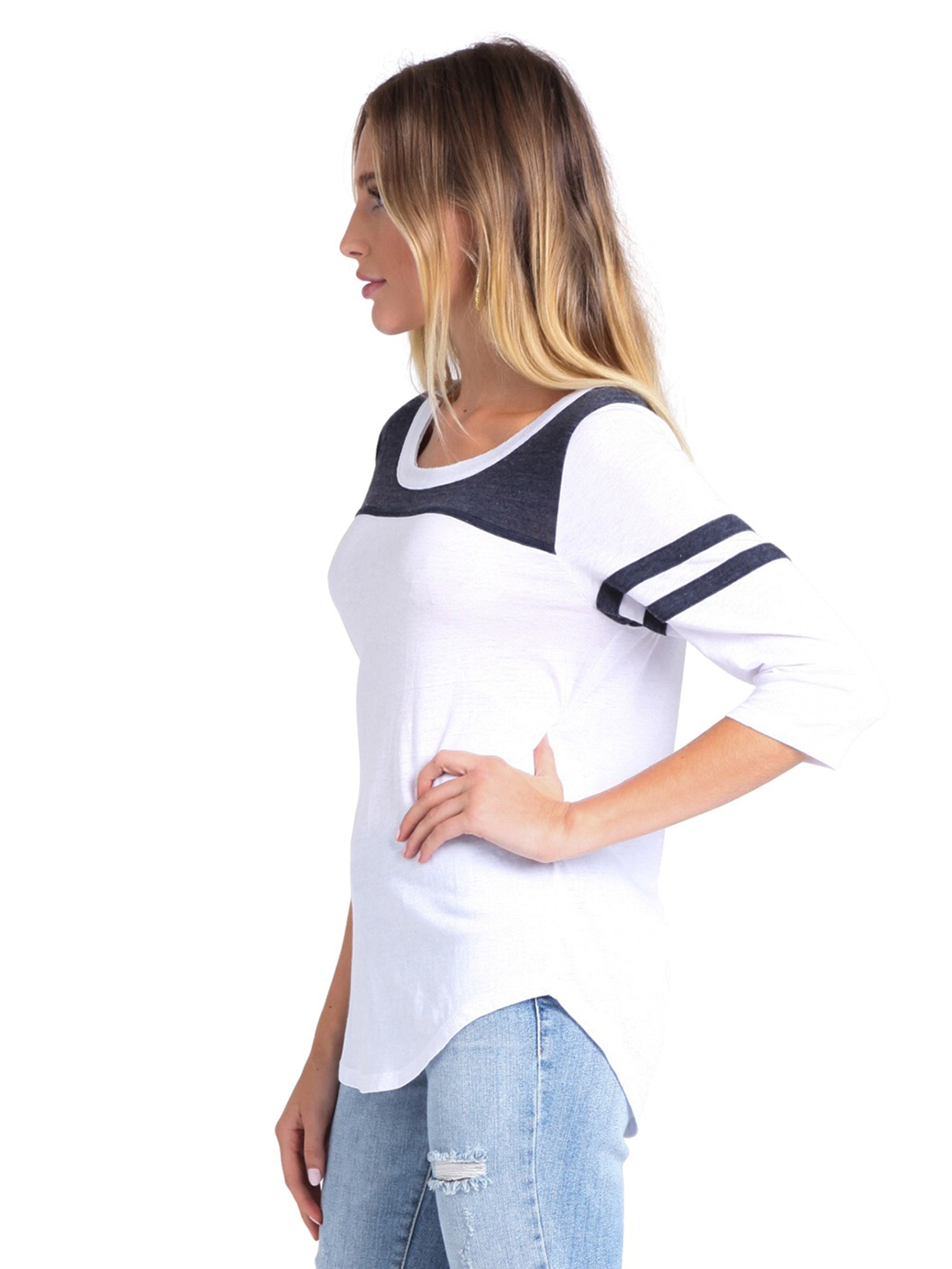 Women wearing a top rental from Chaser called Blocked Jersey Yoke Tee
