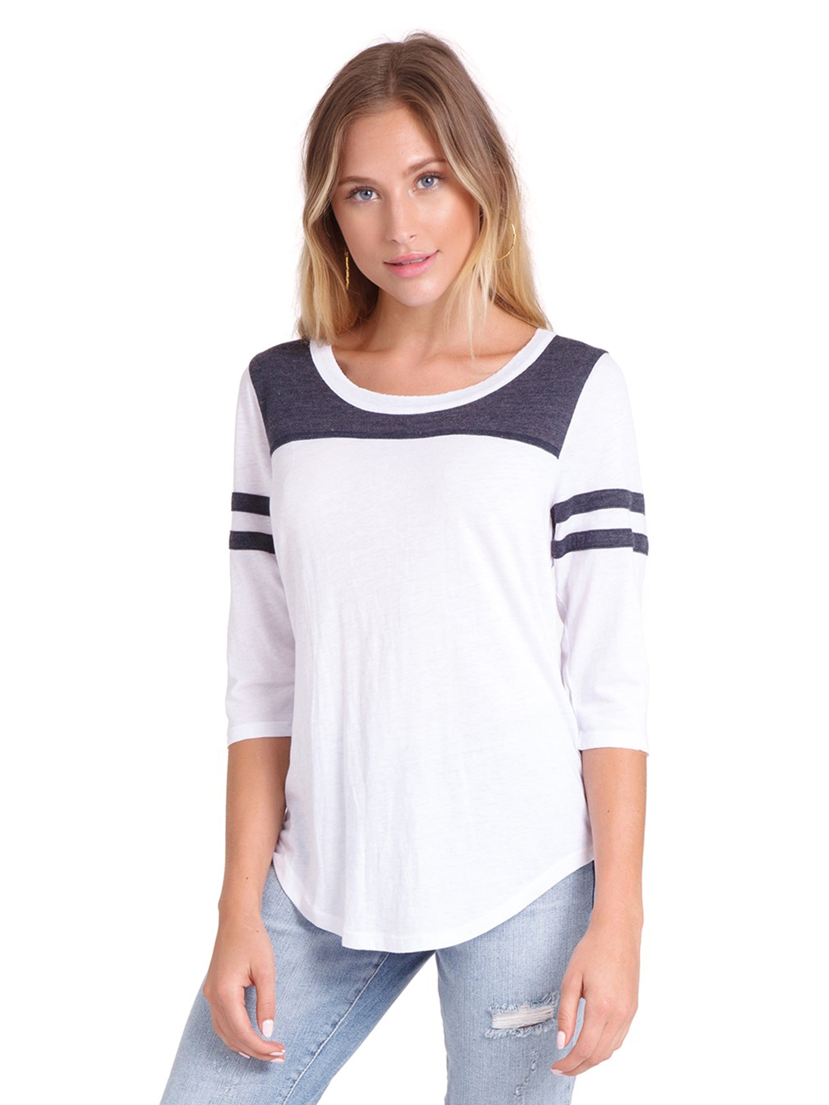 Woman wearing a top rental from Chaser called Blocked Jersey Yoke Tee