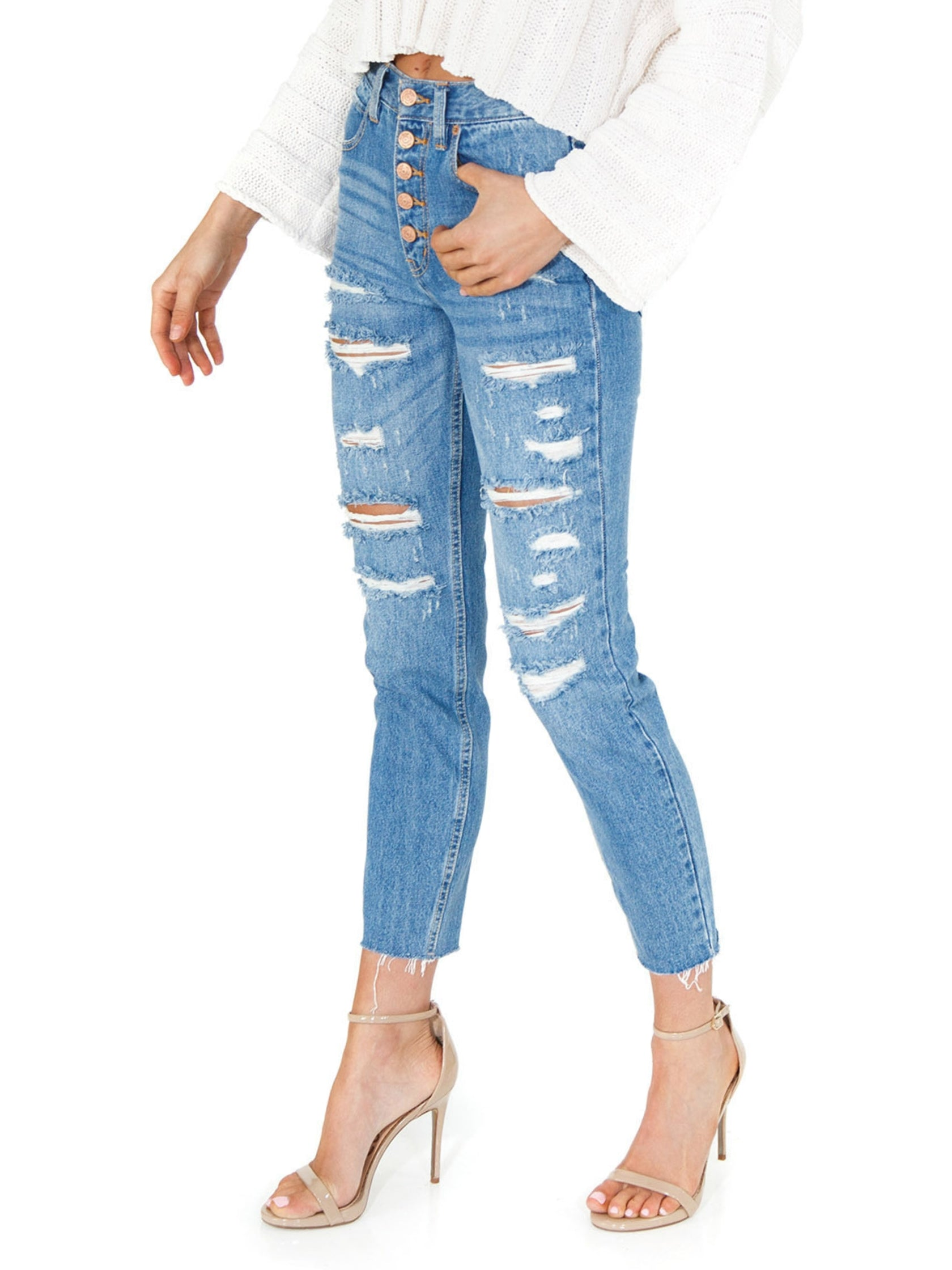 Women wearing a bottoms rental from Free People called Blossom Rigid Skinny Jeans