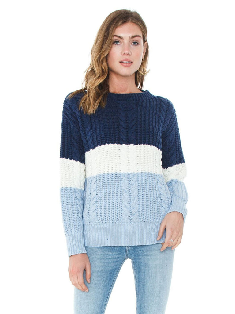 Women wearing a sweater rental from MINKPINK called Blue Afternoon Sweater