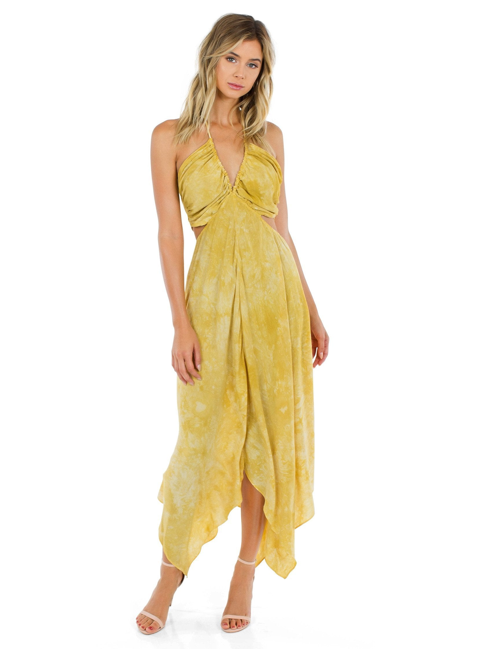 Women outfit in a dress rental from Blue Life called Summer Breeze Halter Maxi