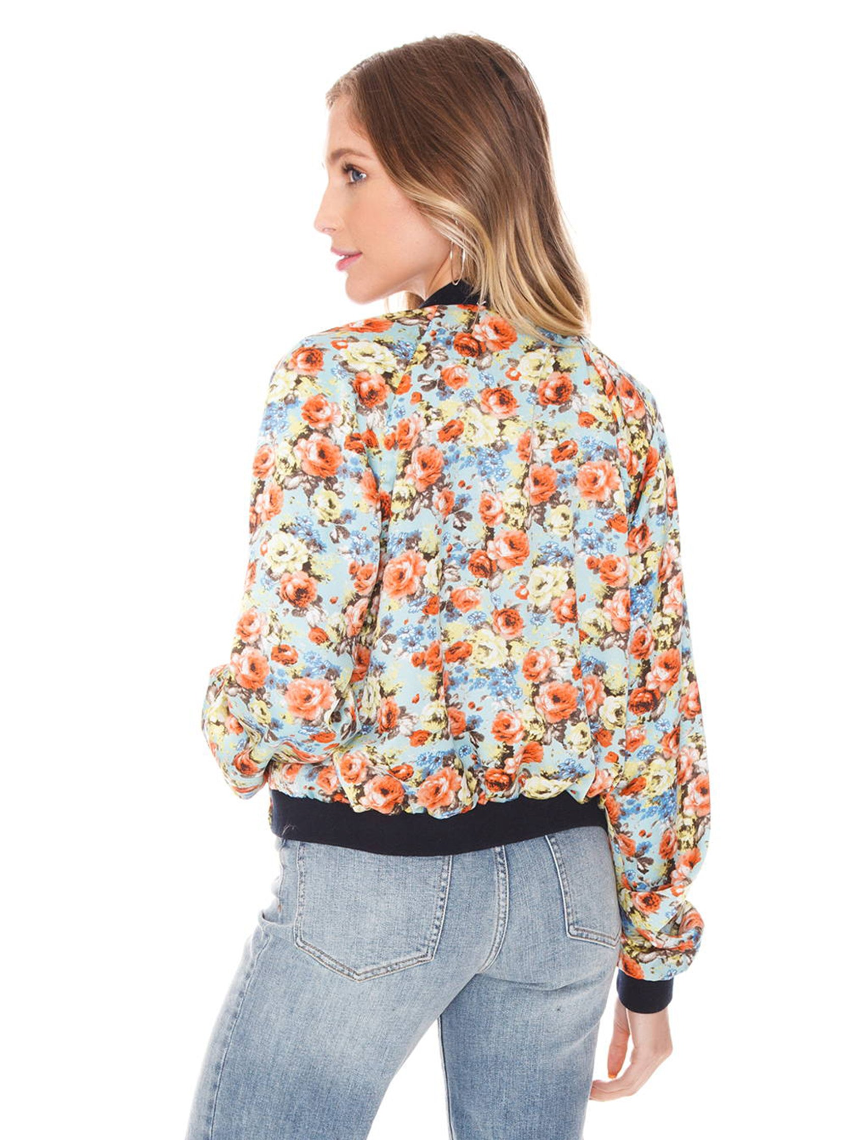 Women outfit in a jacket rental from FLETCH called Blue Reversible Bomber