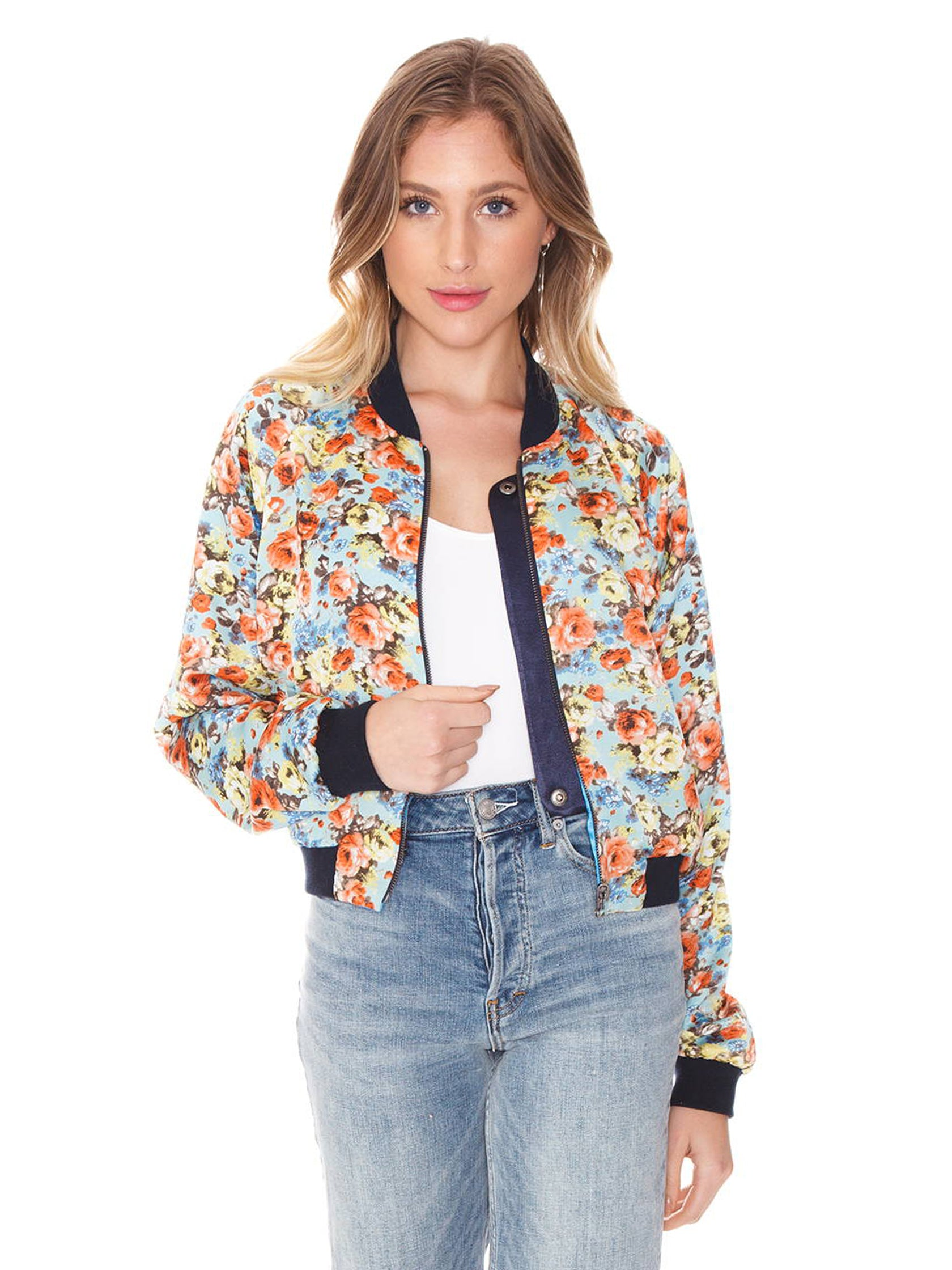 Girl wearing a jacket rental from FLETCH called Blue Reversible Bomber