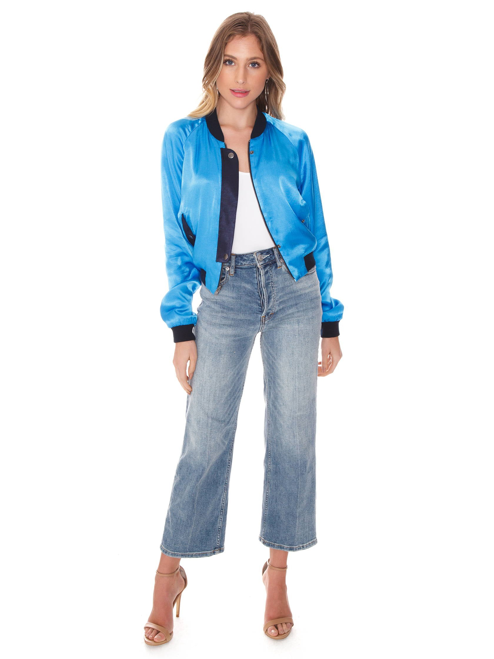 Girl outfit in a jacket rental from FLETCH called Blue Reversible Bomber
