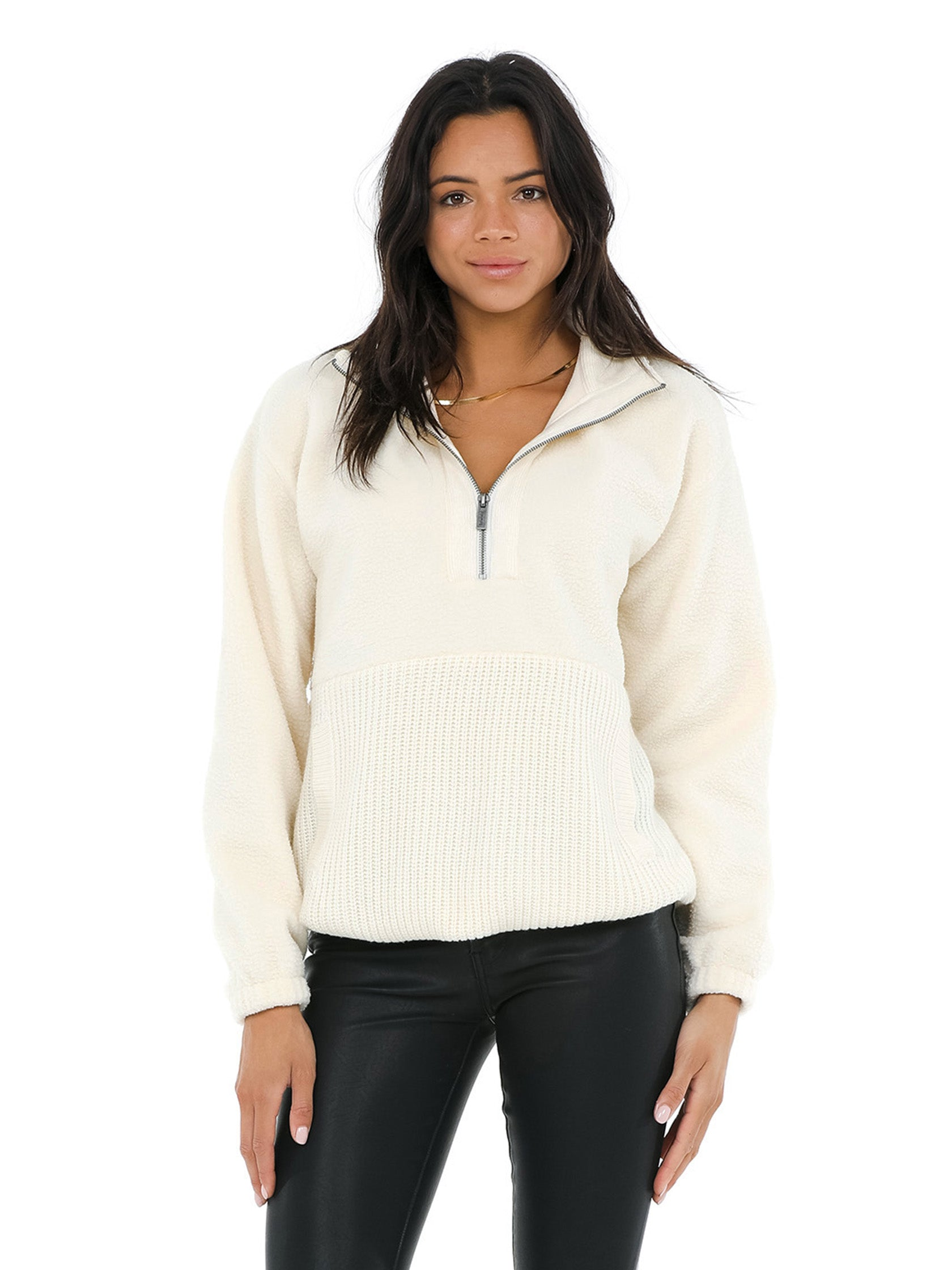 Woman wearing a sweater rental from Splendid called Boulder Half-zip Pullover