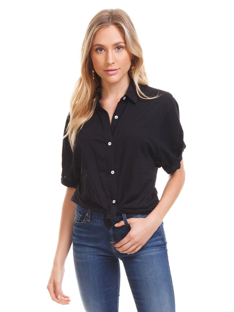 Women wearing a top rental from Splendid called Button Down Tie Front Blouse
