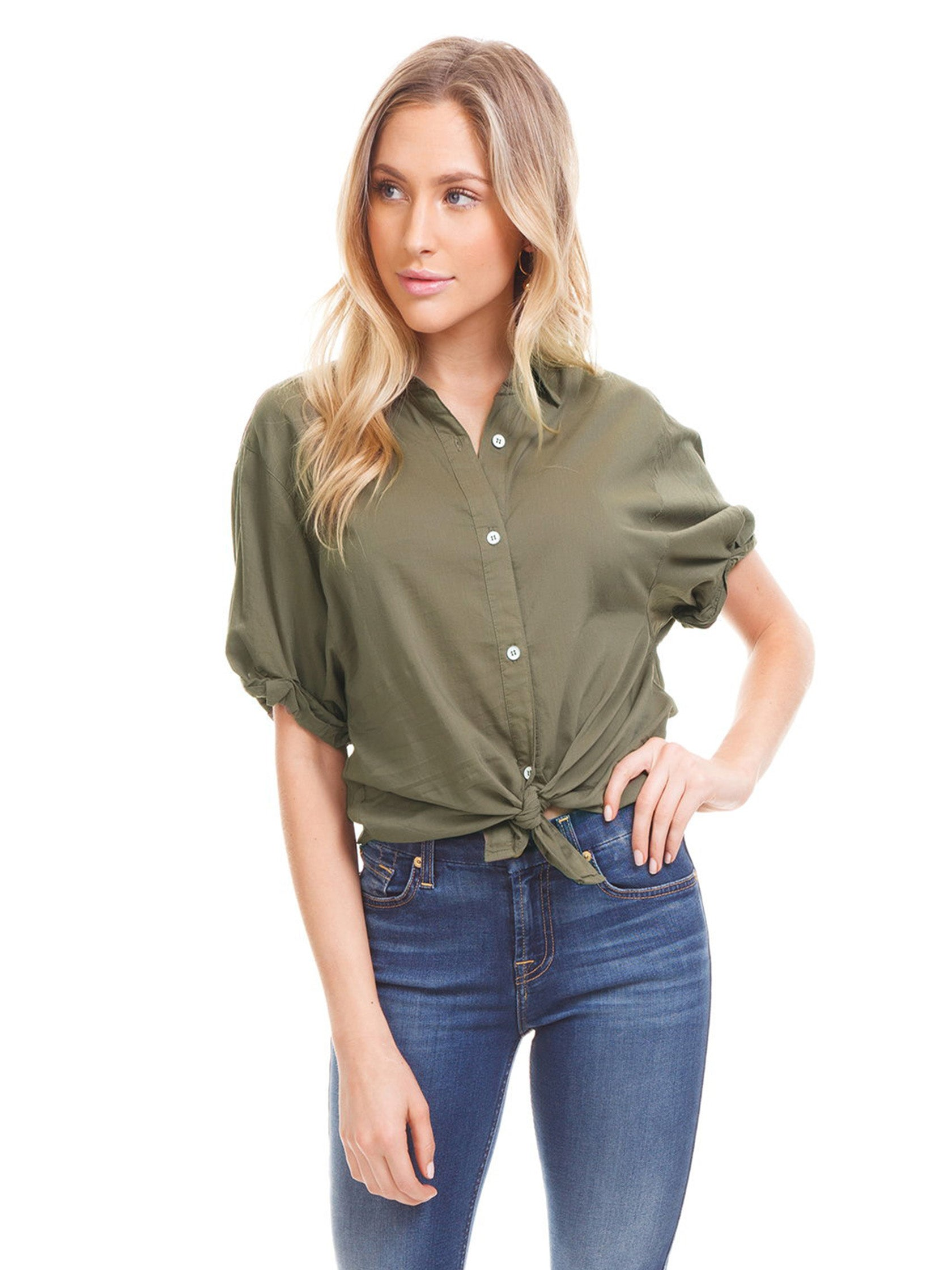 Woman wearing a top rental from Splendid called Boyfriend Shirt