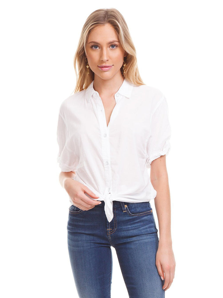 Women outfit in a top rental from Splendid called Button Down Tie Front Blouse