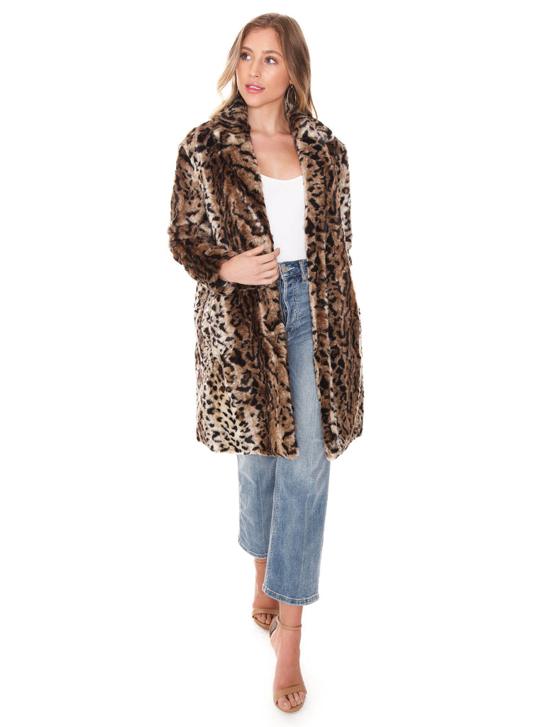 Women wearing a jacket rental from BB Dakota called Bradshaw Leopard Fur Coat