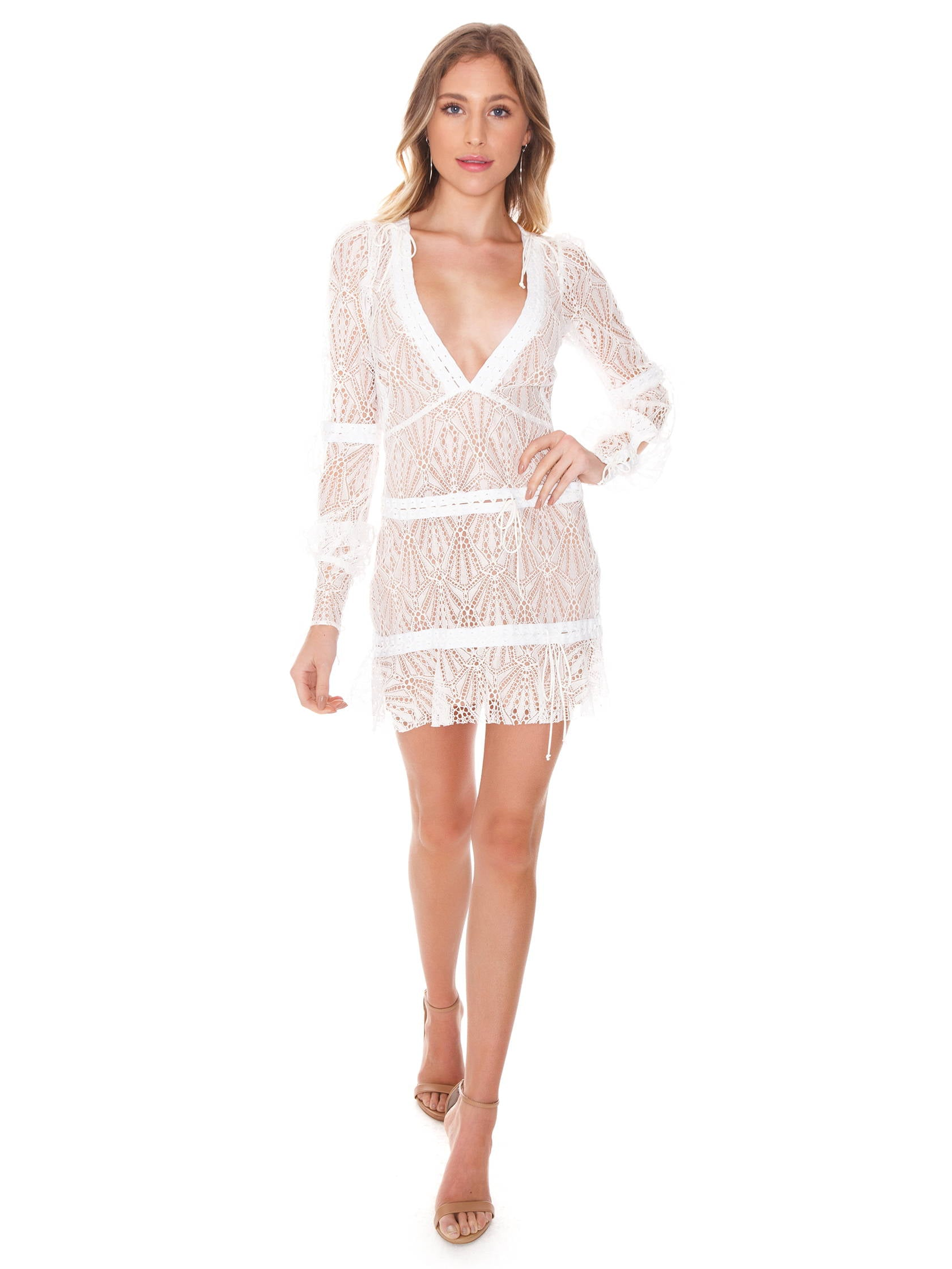 Girl outfit in a dress rental from For Love & Lemons called Bright Lights Mini Dress