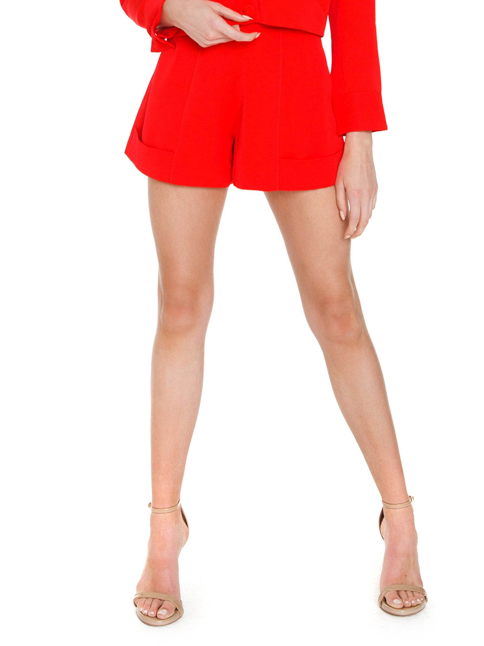 Woman wearing a shorts rental from FLETCH called Brooklyn High-waisted Shorts