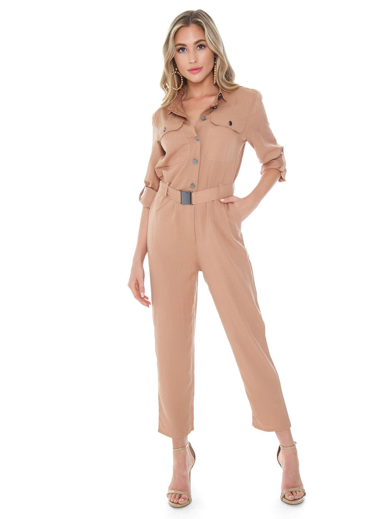 Woman wearing a jumpsuit rental from BARDOT called Remi Jumper