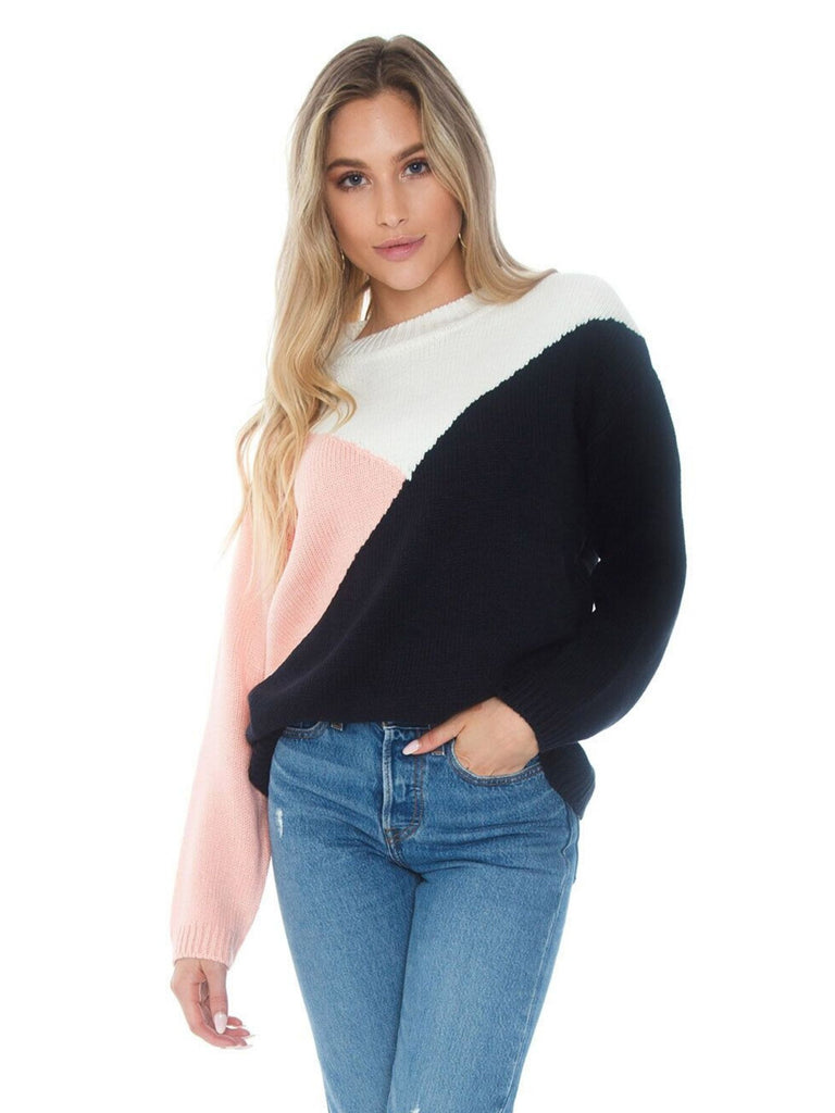 Woman wearing a sweater rental from BB Dakota called Tiger Lily Bell Sleeve Top