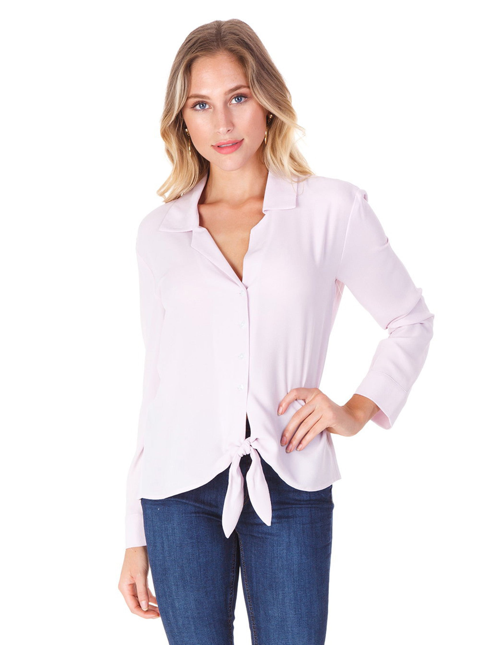 Woman wearing a top rental from 1.STATE called Button Down Tie Front Blouse