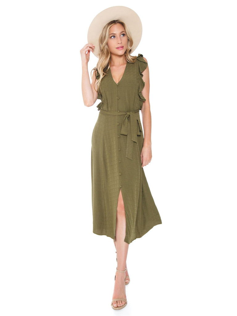 Girl outfit in a dress rental from 1.STATE called Cinched Sleeve Woodland Ditsy Wrap Dress