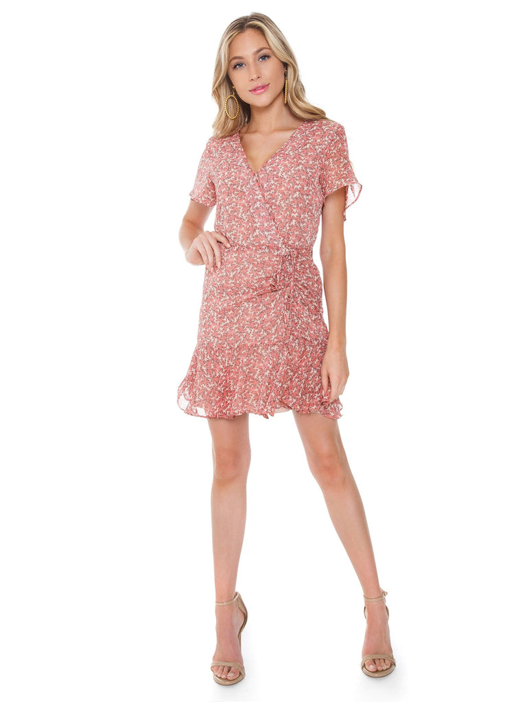 Woman wearing a dress rental from BB Dakota called Gingham Seersucker Top