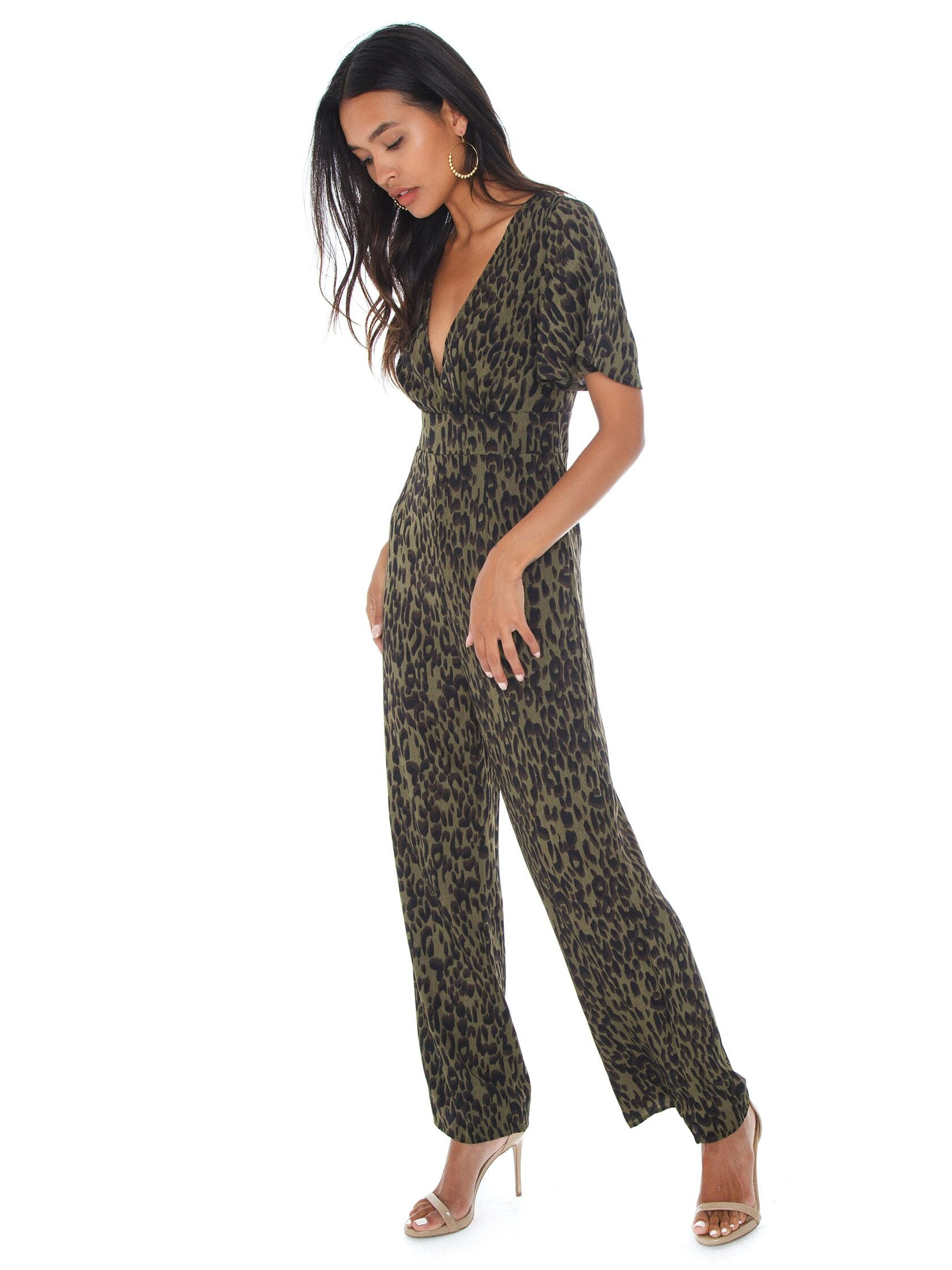 Woman wearing a jumpsuit rental from Lost In Lunar called Callie Pantsuit