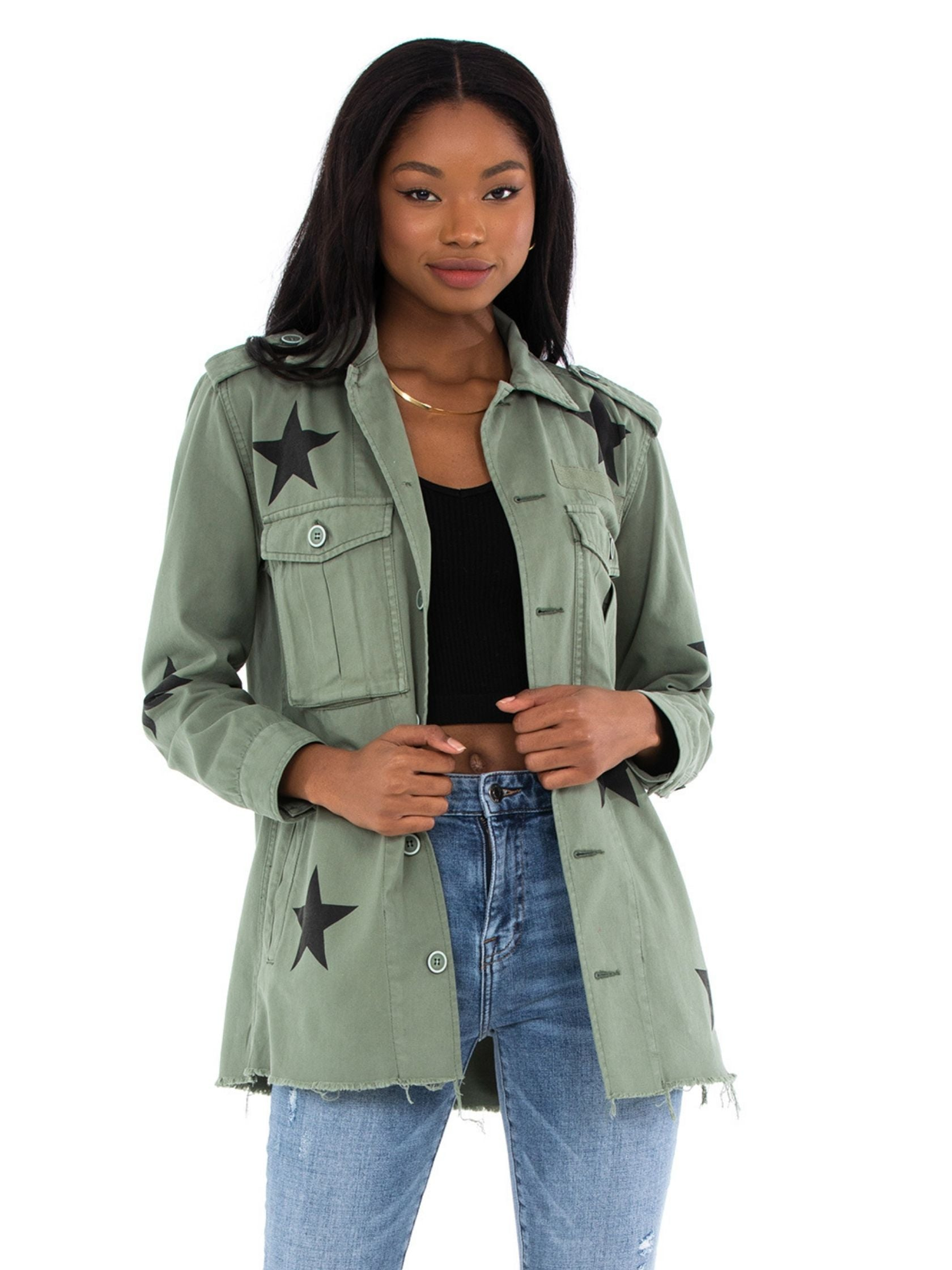 Girl wearing a jacket rental from PISTOLA called Camilo Royal Honor Jacket