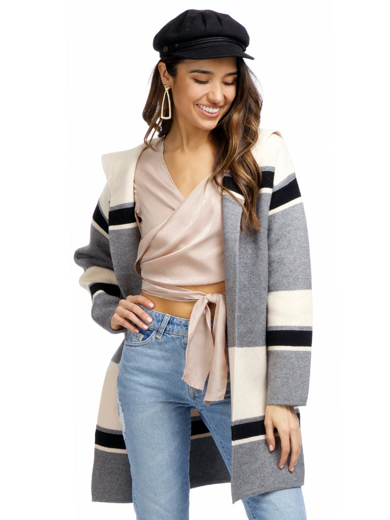 Women wearing a cardigan rental from Strut & Bolt called Carmine Colorblock Knit Jacket