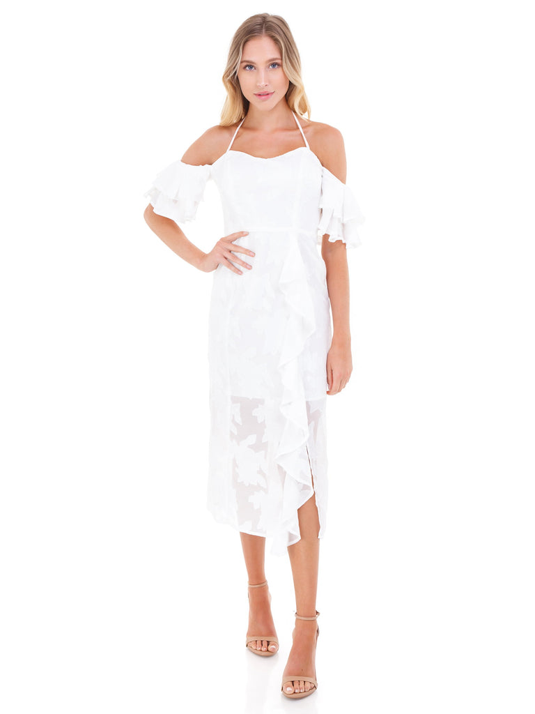 Women wearing a dress rental from WAYF called Abby Off Shoulder Tiered Maxi Dress
