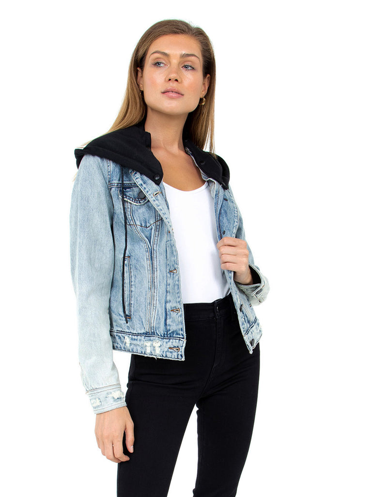 Girl wearing a jacket rental from BLANKNYC called Bi-coastal Cardigan