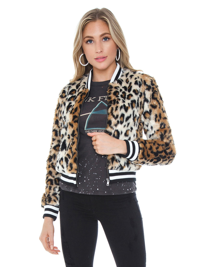 Woman wearing a jacket rental from BB Dakota called Fab Moment Faux Fur Jacket