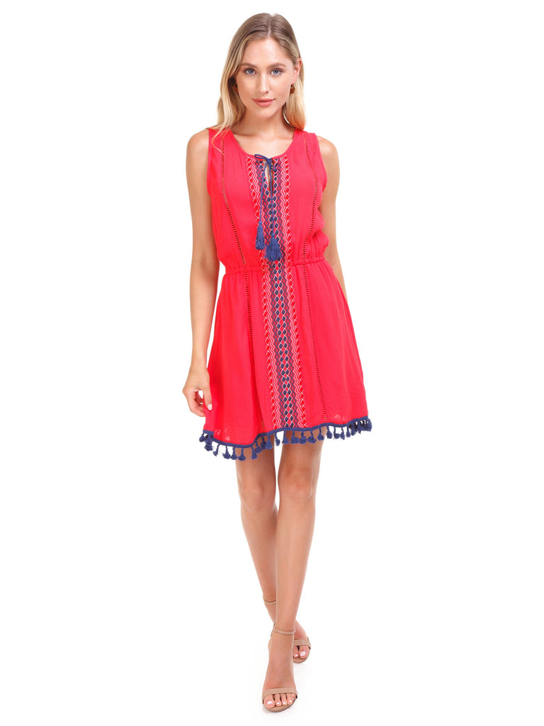 Girl wearing a dress rental from BB Dakota called Laurel Canyon Drawstring Top