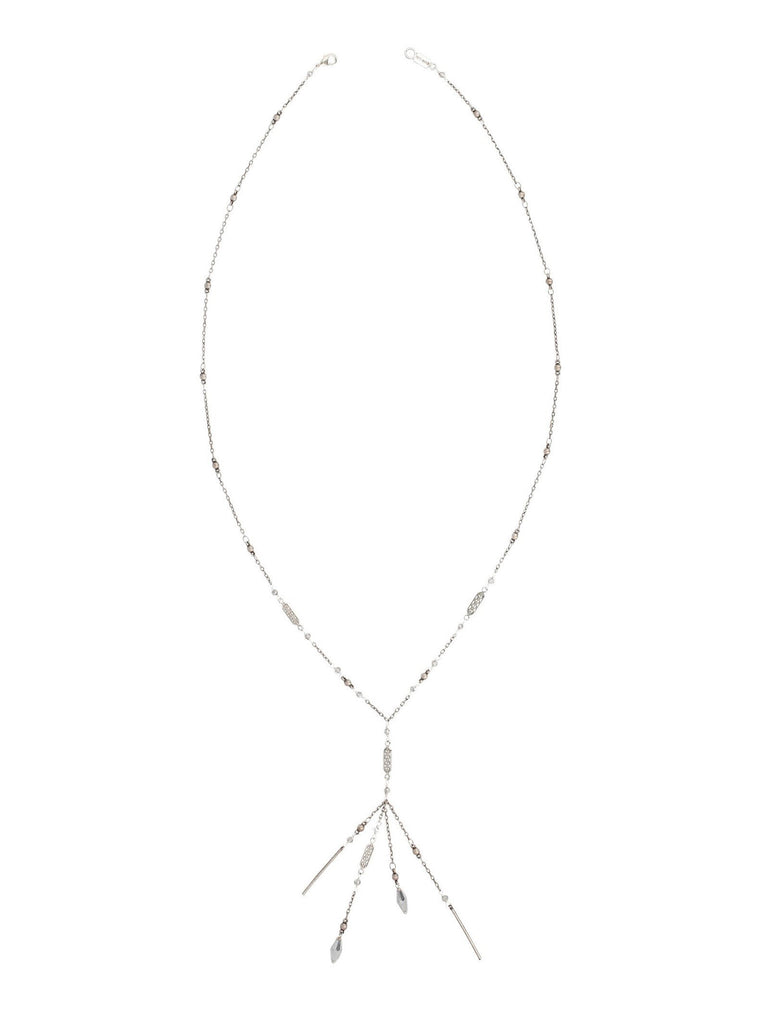 Women wearing a necklace rental from Chan Luu called Grey Mix Chain Fringe Necklace