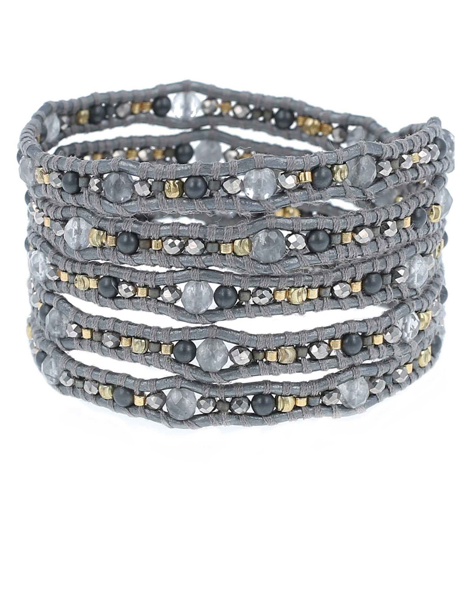 Women outfit in a bracelet rental from Chan Luu called Grey Mix Wrap Bracelet
