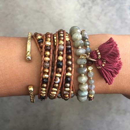 Girl outfit in a bracelet rental from Chan Luu called Labradorite Mix Adjustable Tassel Bracelet