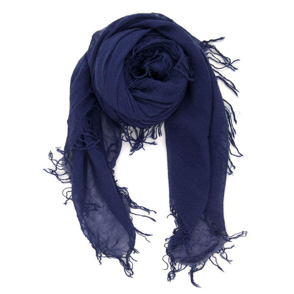 Women wearing a scarf rental from Chan Luu called Medieval Blue Cashmere And Silk Scarf