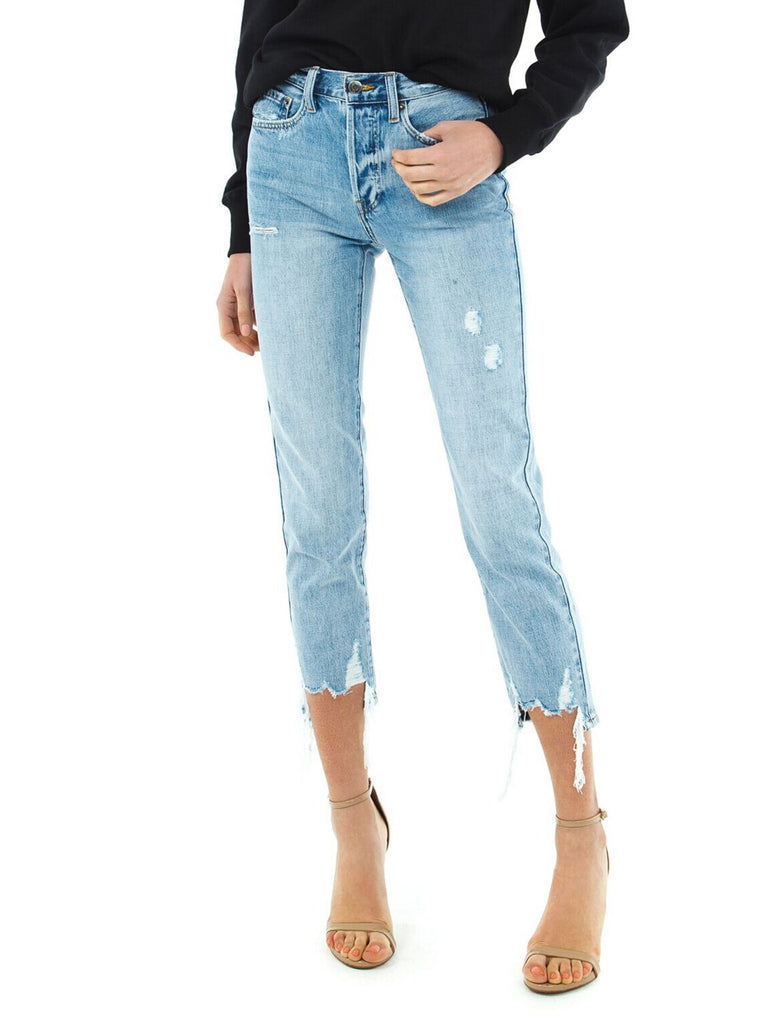 Girl outfit in a denim rental from PISTOLA called Neva Velvet Smocked Waist Top