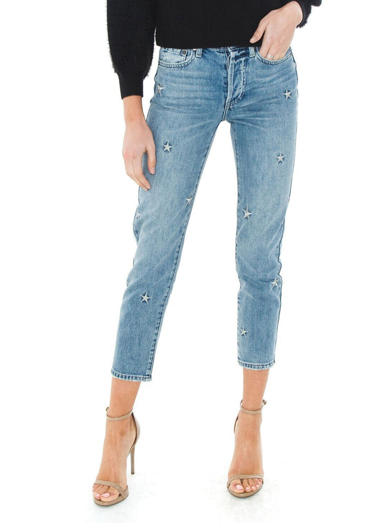 Women wearing a denim rental from PISTOLA called Aline High Rise Skinny Jeans
