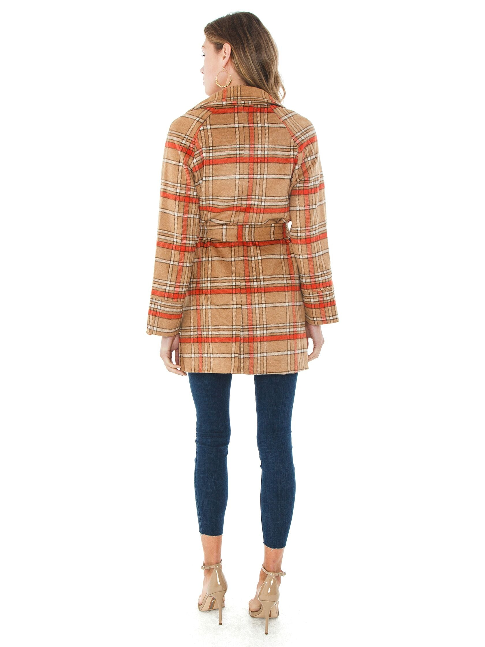 Women wearing a jacket rental from MINKPINK called Check Coat
