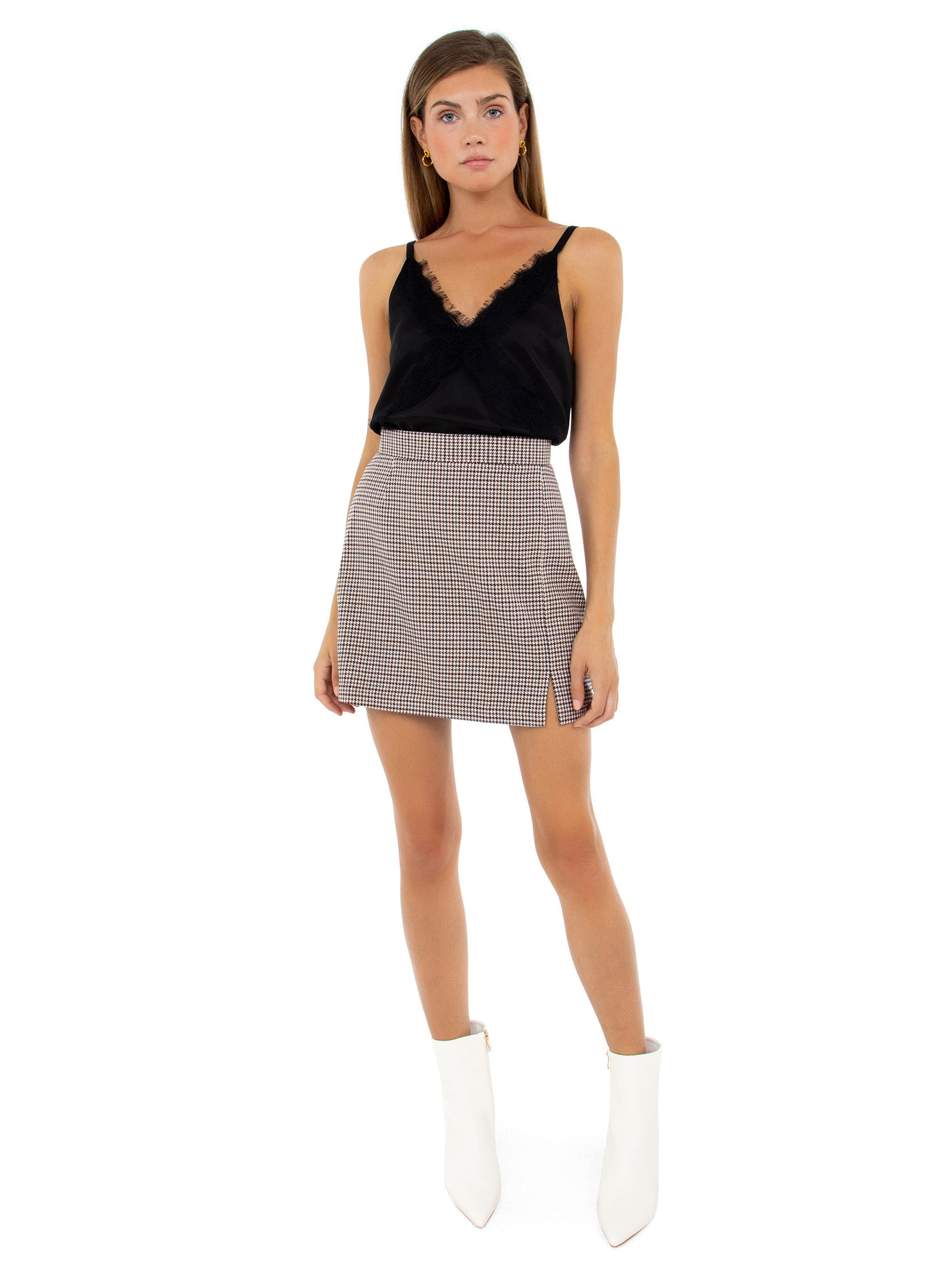 Girl wearing a skirt rental from BB Dakota called Check It Out Skirt