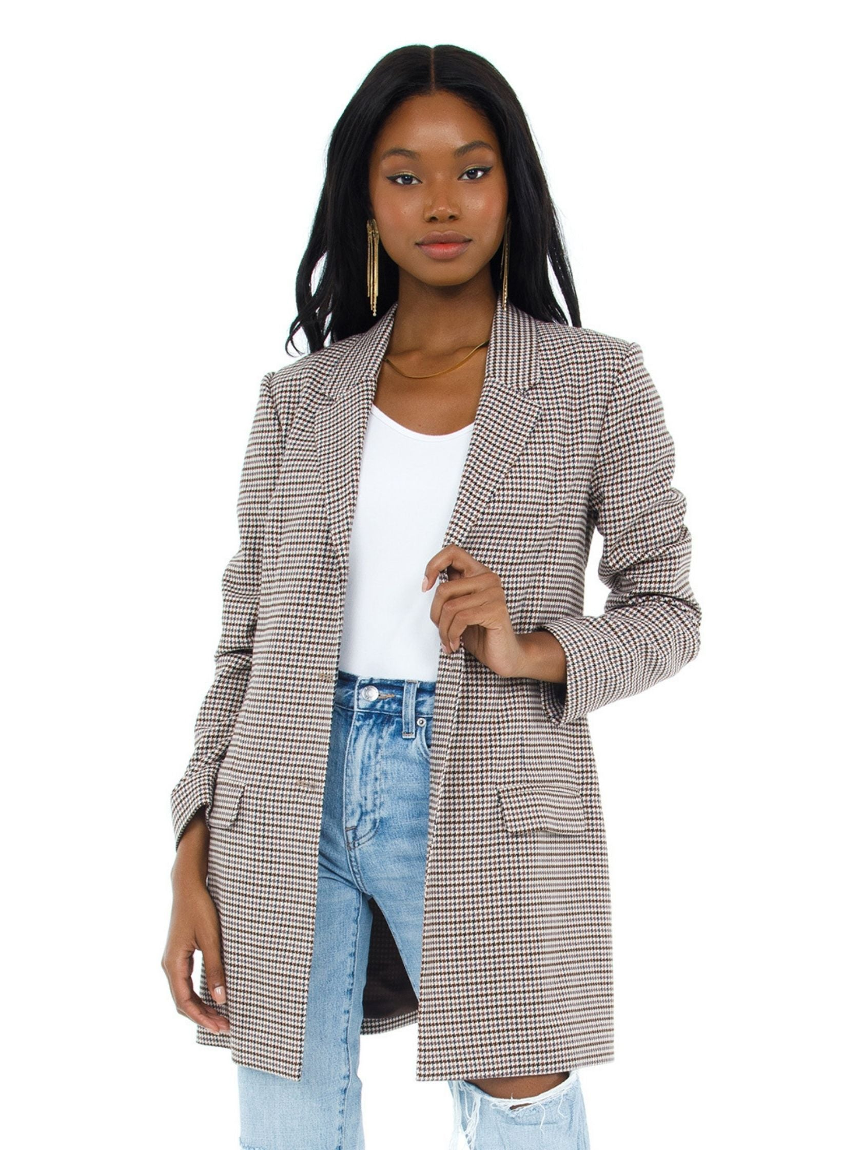 Women outfit in a blazer rental from BB Dakota called Checking Up Blazer