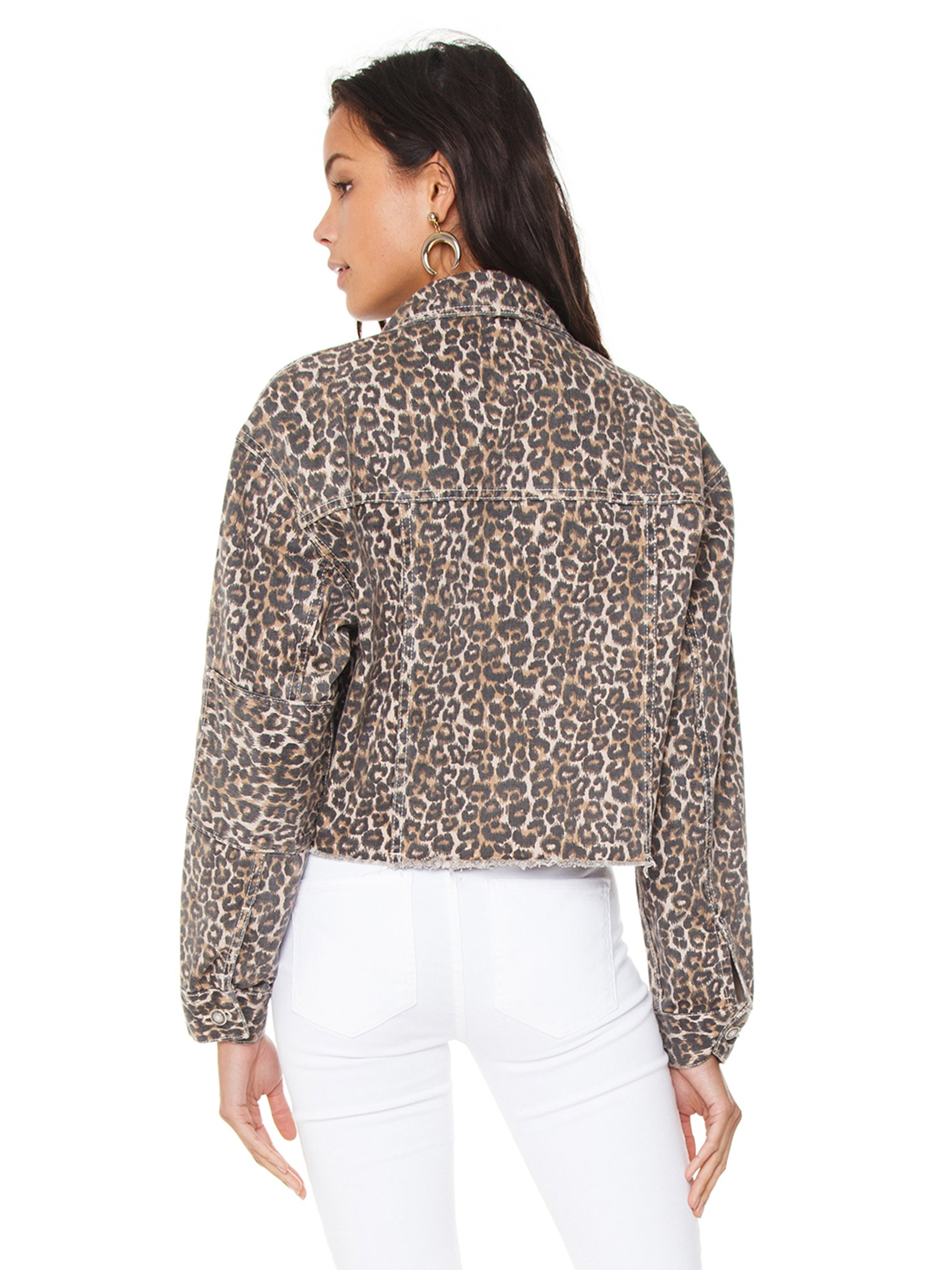 Women outfit in a jacket rental from Free People called Cheetah Printed Denim Jacket
