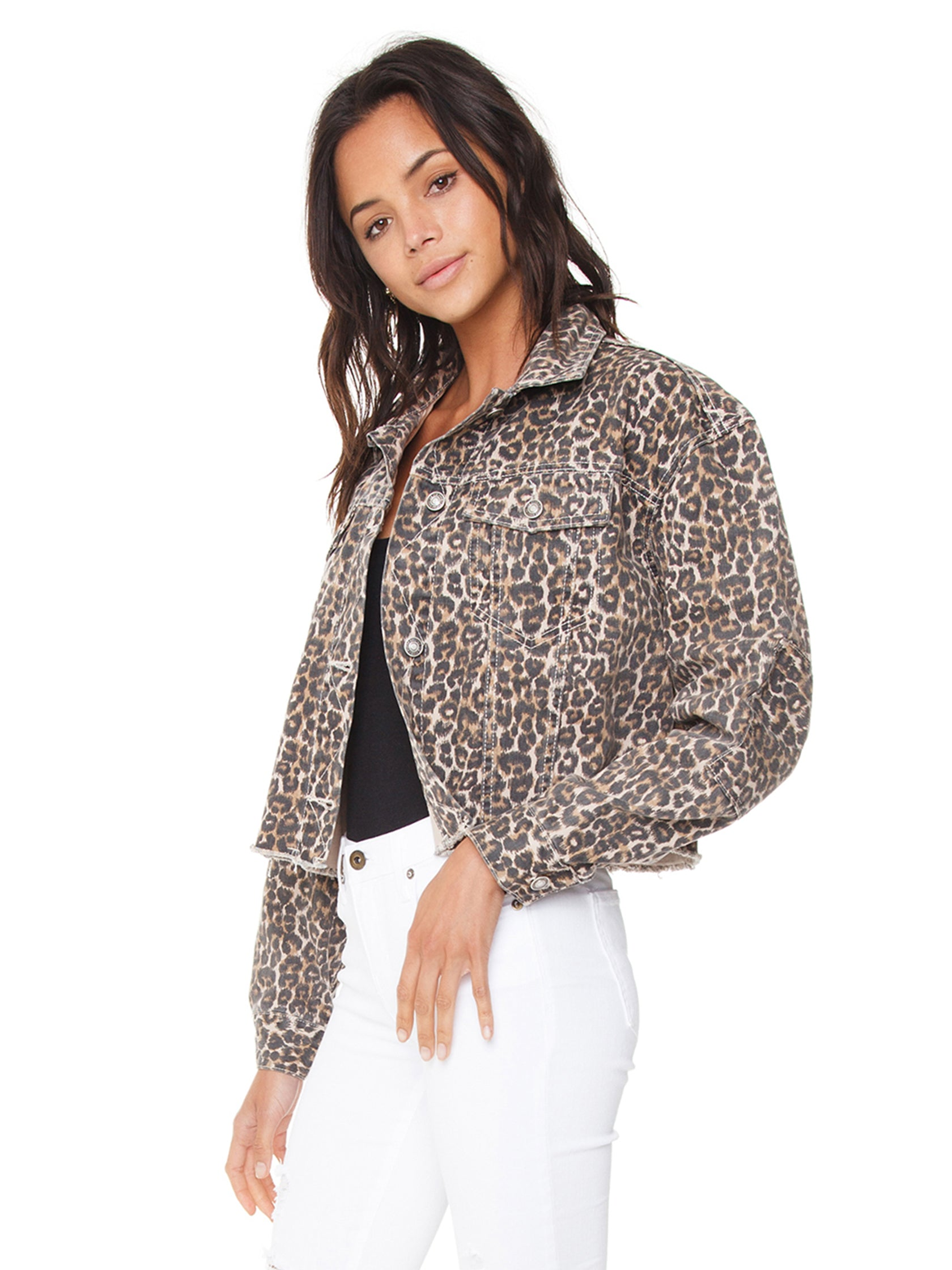 Women wearing a jacket rental from Free People called Cheetah Printed Denim Jacket