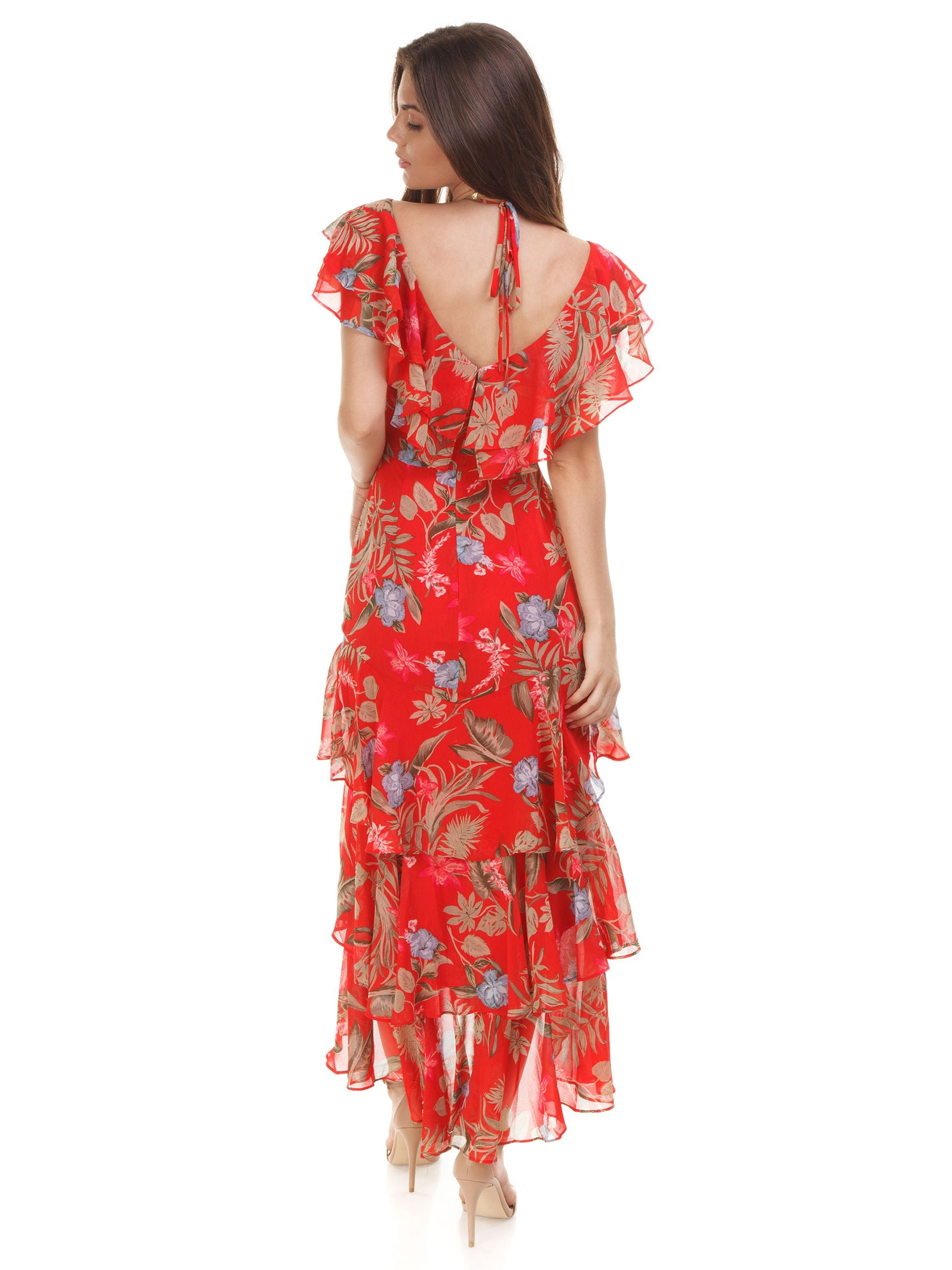 Women wearing a dress rental from WAYF called Chelsea Tiered Ruffle Maxi Dress