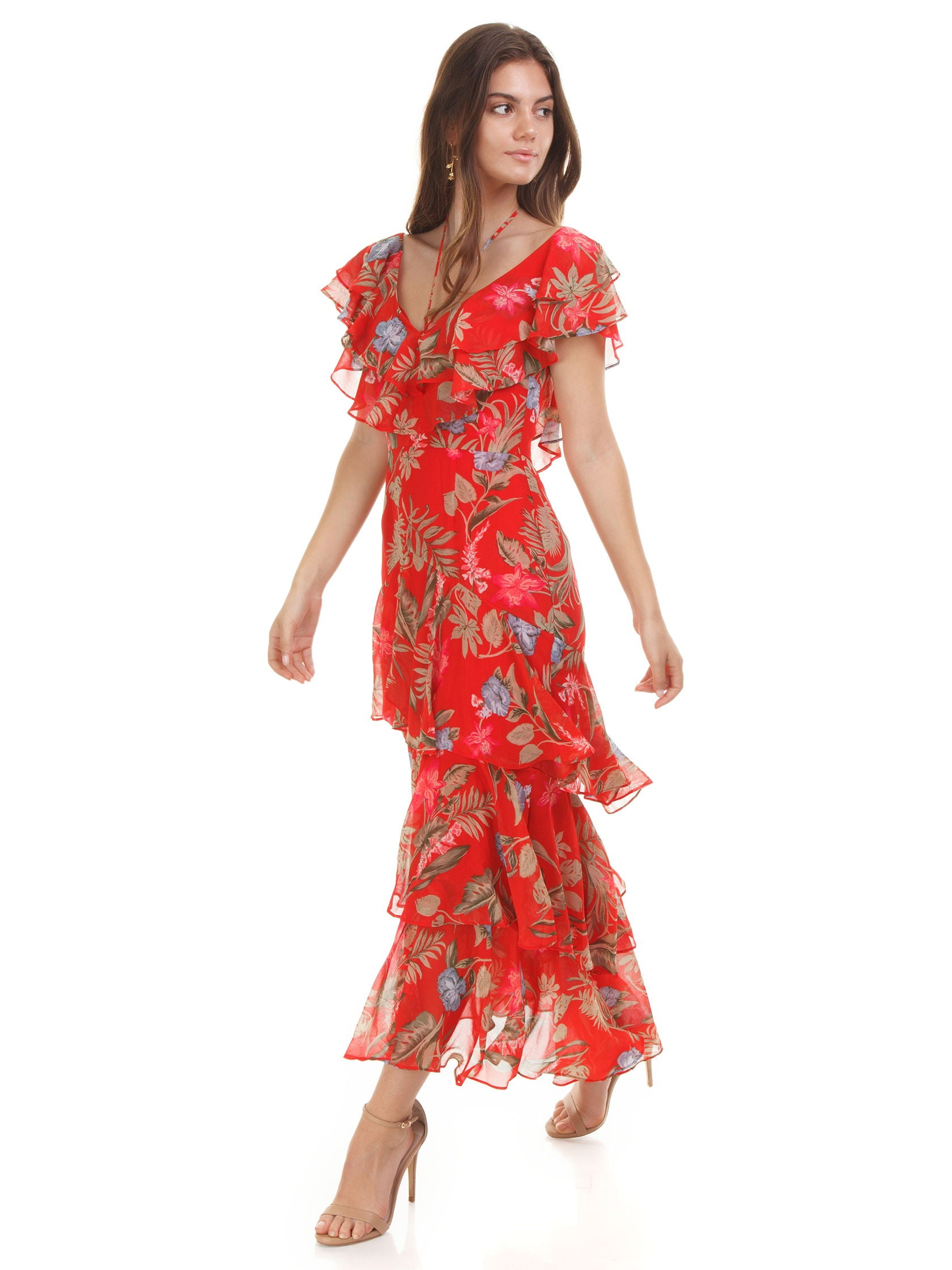 Woman wearing a dress rental from WAYF called Chelsea Tiered Ruffle Maxi Dress