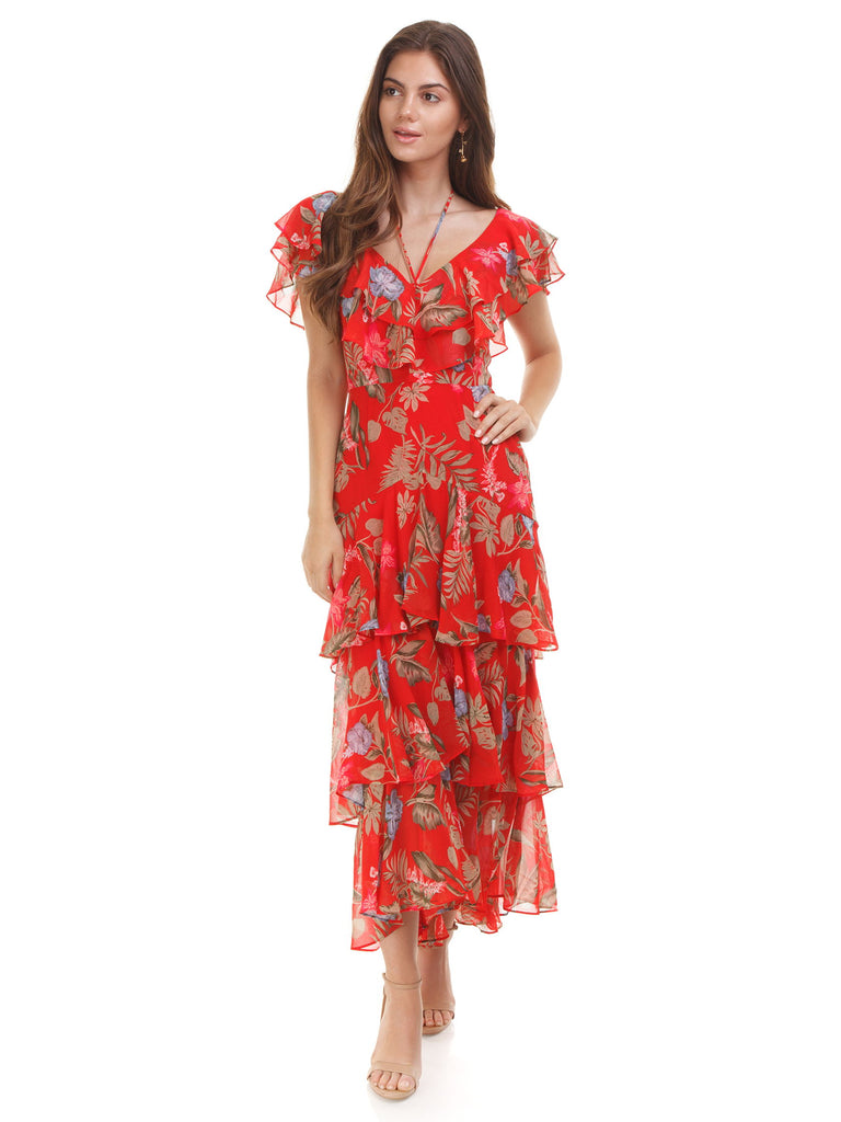 Women wearing a dress rental from WAYF called Danielle Off Shoulder Tiered Ruffle Maxi Dress