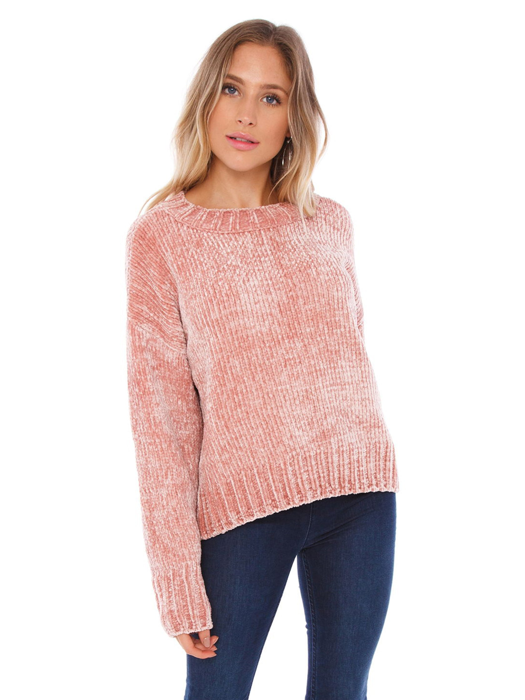Woman wearing a sweater rental from SANCTUARY called Chenille Pullover
