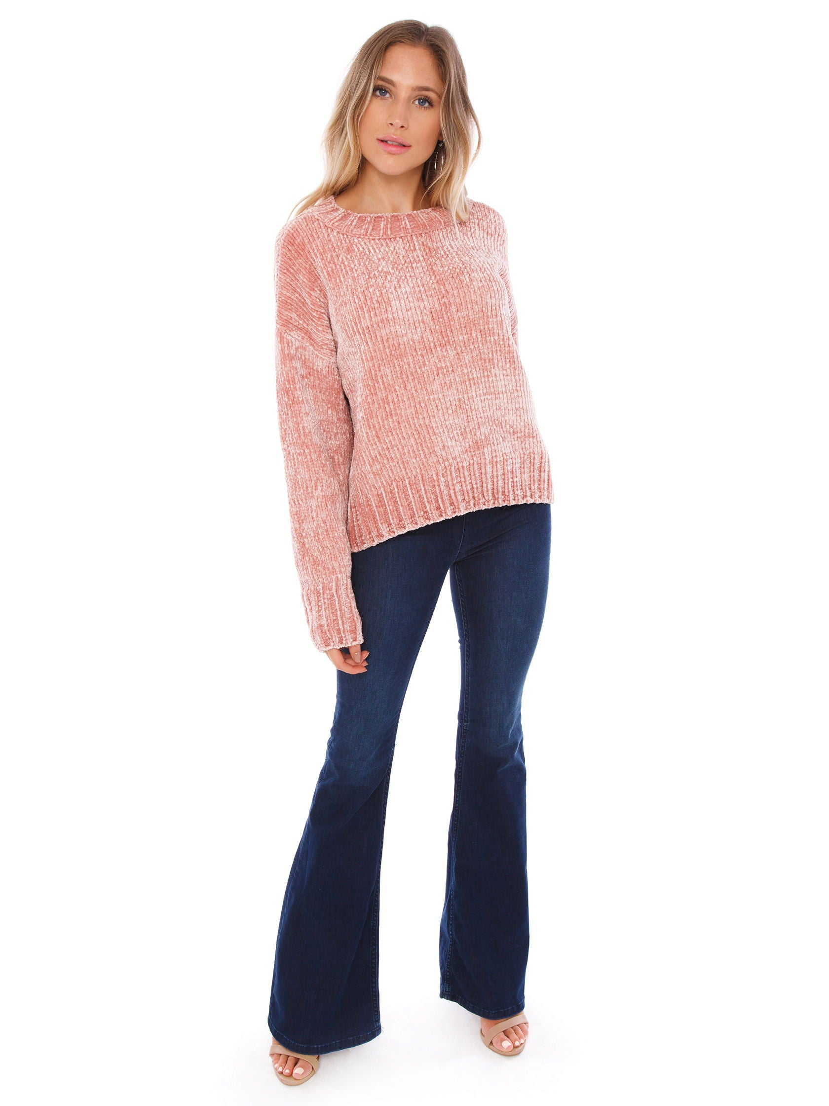 Girl wearing a sweater rental from SANCTUARY called Chenille Pullover