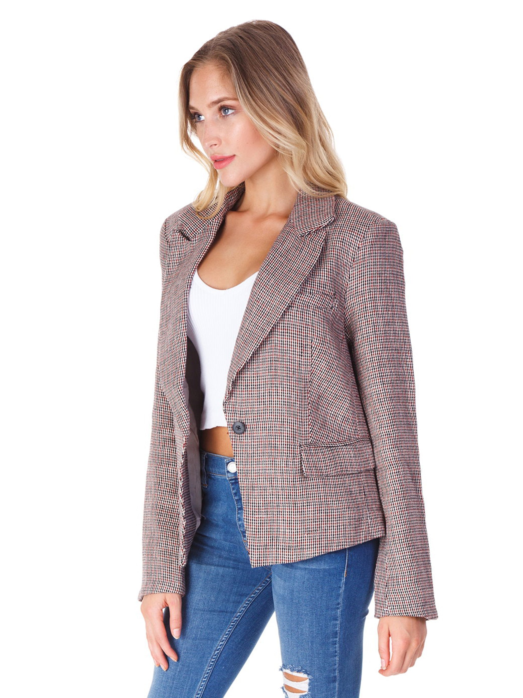 Women wearing a blazer rental from Free People called Chess Blazer